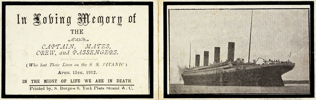 Detail of Memorial card for 'Titanic' (1912) by S Burgess