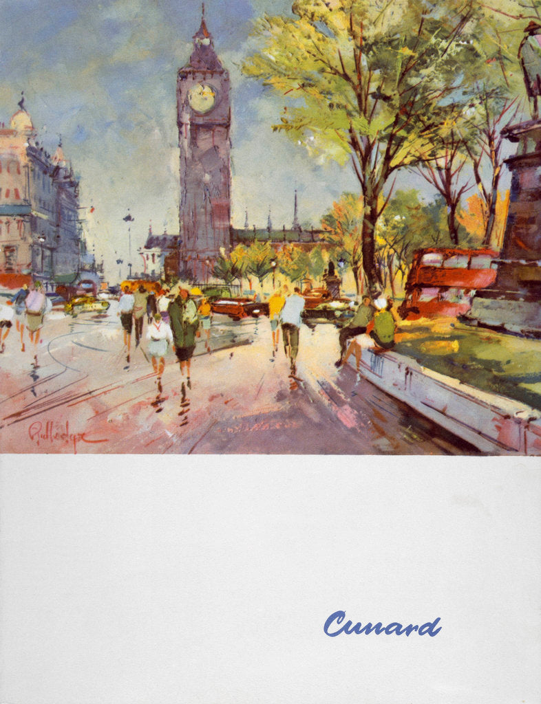 Detail of Front cover of Cunard menu featuring Big Ben and a red London bus by unknown