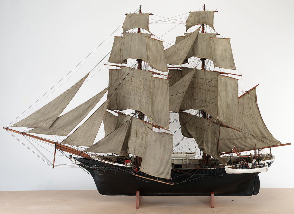 Detail of A full hull model of a Merchant sailing brig, circa 1840 by unknown