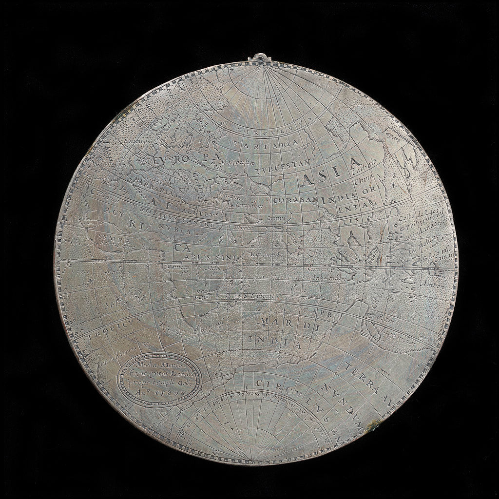 Medal commemorating the track of Drake's voyage, 1577-1580; obverse by Michael Mercator