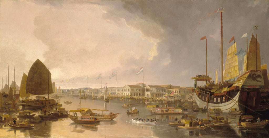 Detail of A view of the European factories at Canton by William Daniell