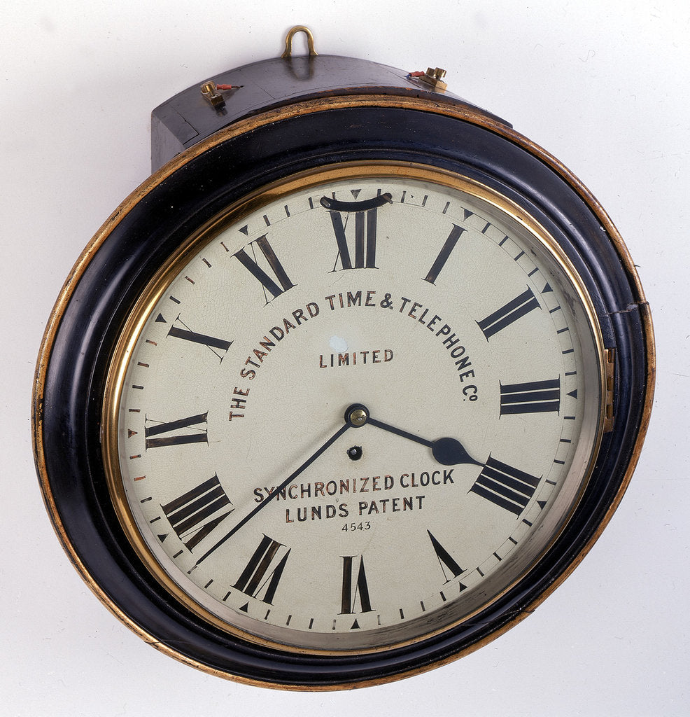 Detail of Electrically-corrected dial clock by The Standard Time and Telephone Co.