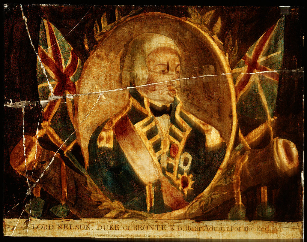 Detail of Picture on glass: Lord Nelson, Duke of Bronte K.B. Rear Admiral of the Red by J. Hinton