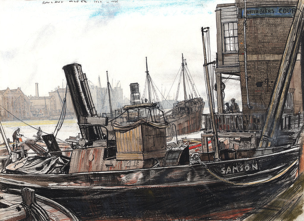 Detail of The Thames at the Angel, with the tug 'Samson' in the foreground by Rowland Hilder