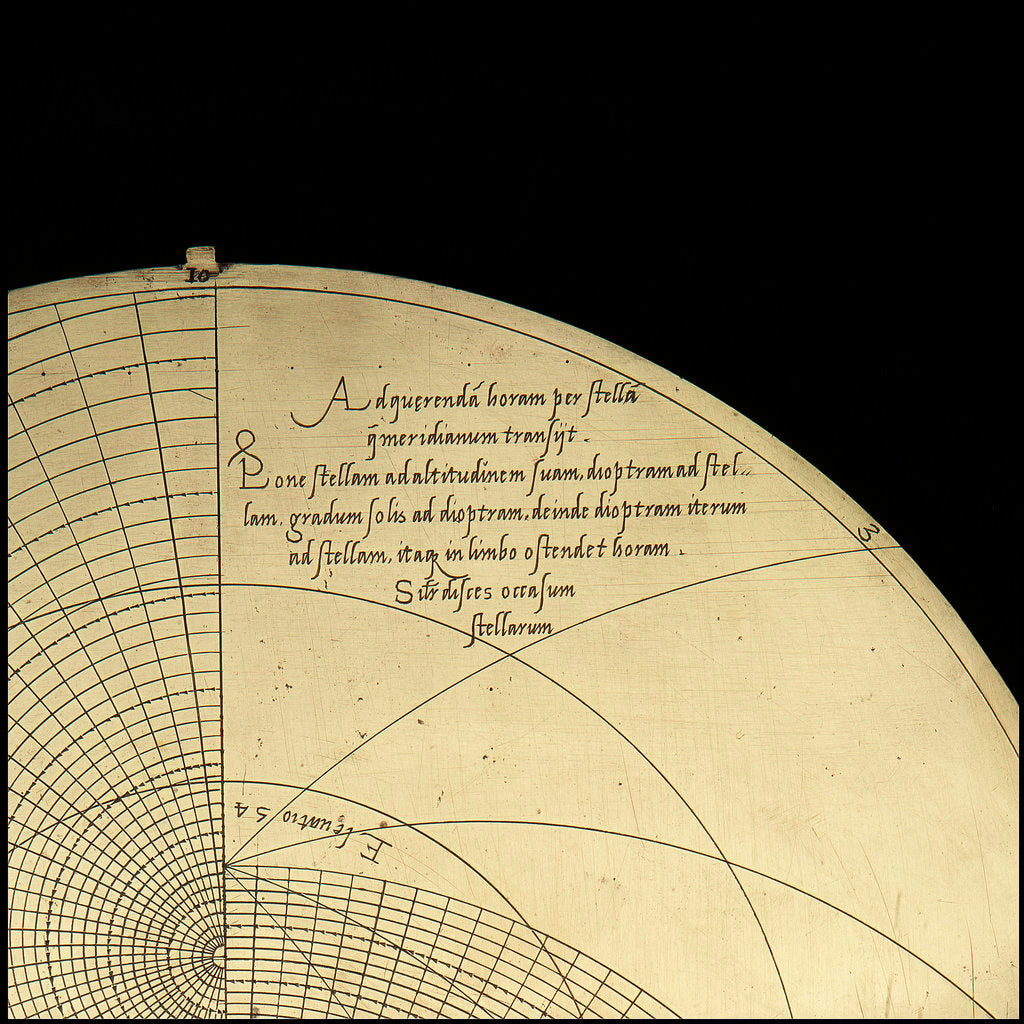 Detail of Astrolabe: inscription on plate for 51 by Michael D. Piquer