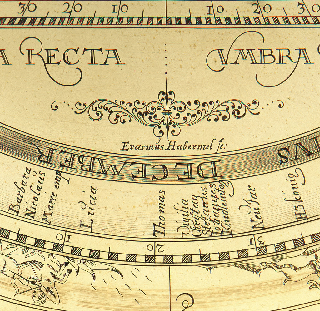 Detail of Astrolabe: signature by Erasmus Habermel