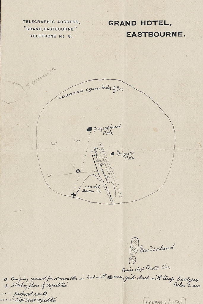 Detail of Sketch outlining Shackleton's route to the pole by Ernest Shackleton