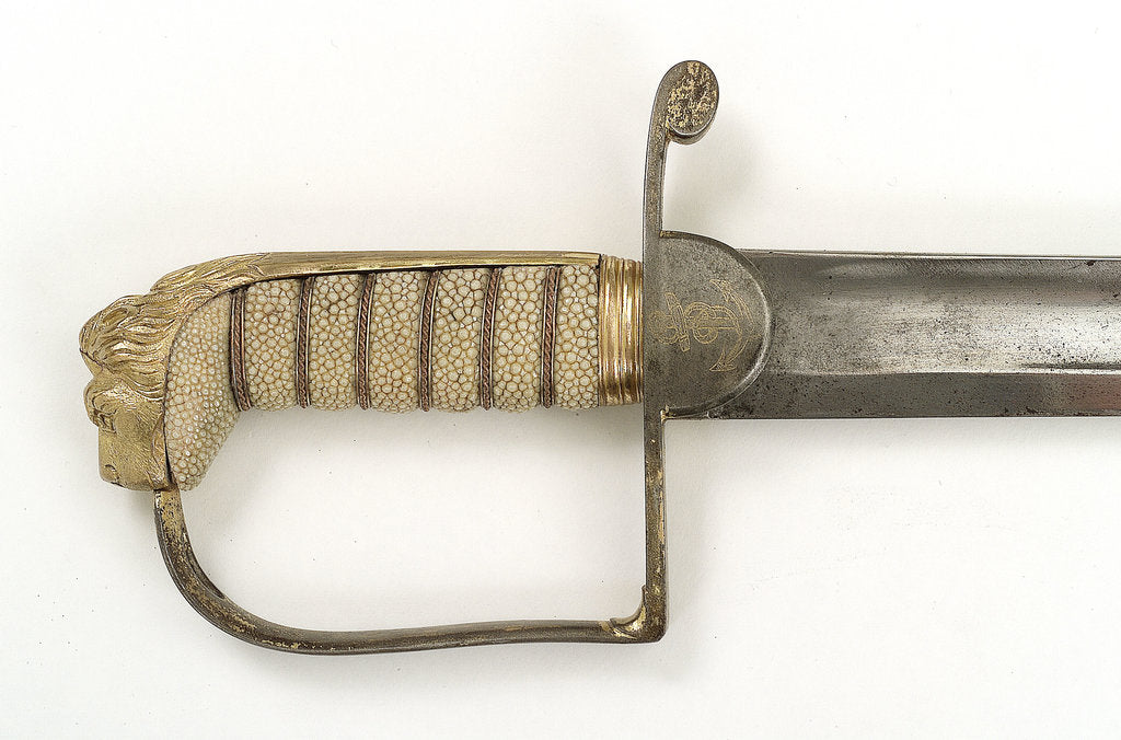 Detail of Straight stirrup hilted sword by Prosser