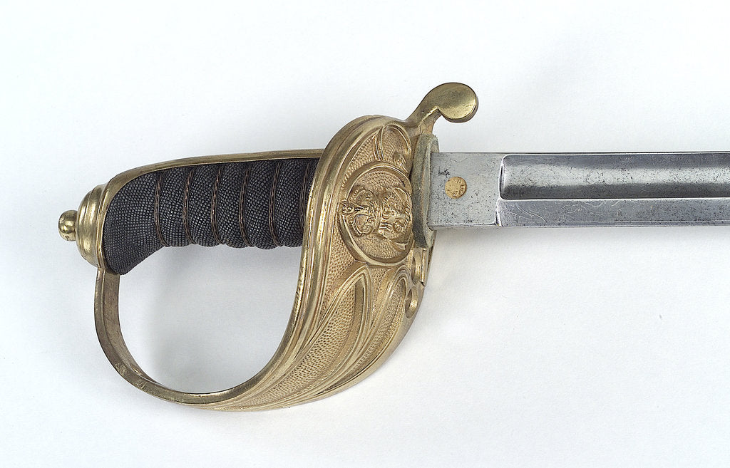 Detail of Solid half-basket hilted sword by W.E. Legge