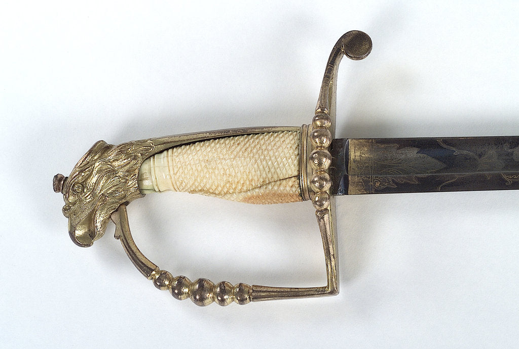 Detail of American Fighting sword by T. Wells & Co.