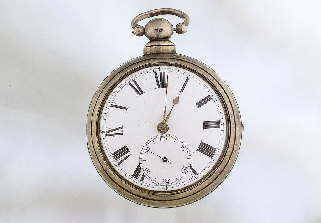 Detail of Pocket watch in silver pair case by Richard Story