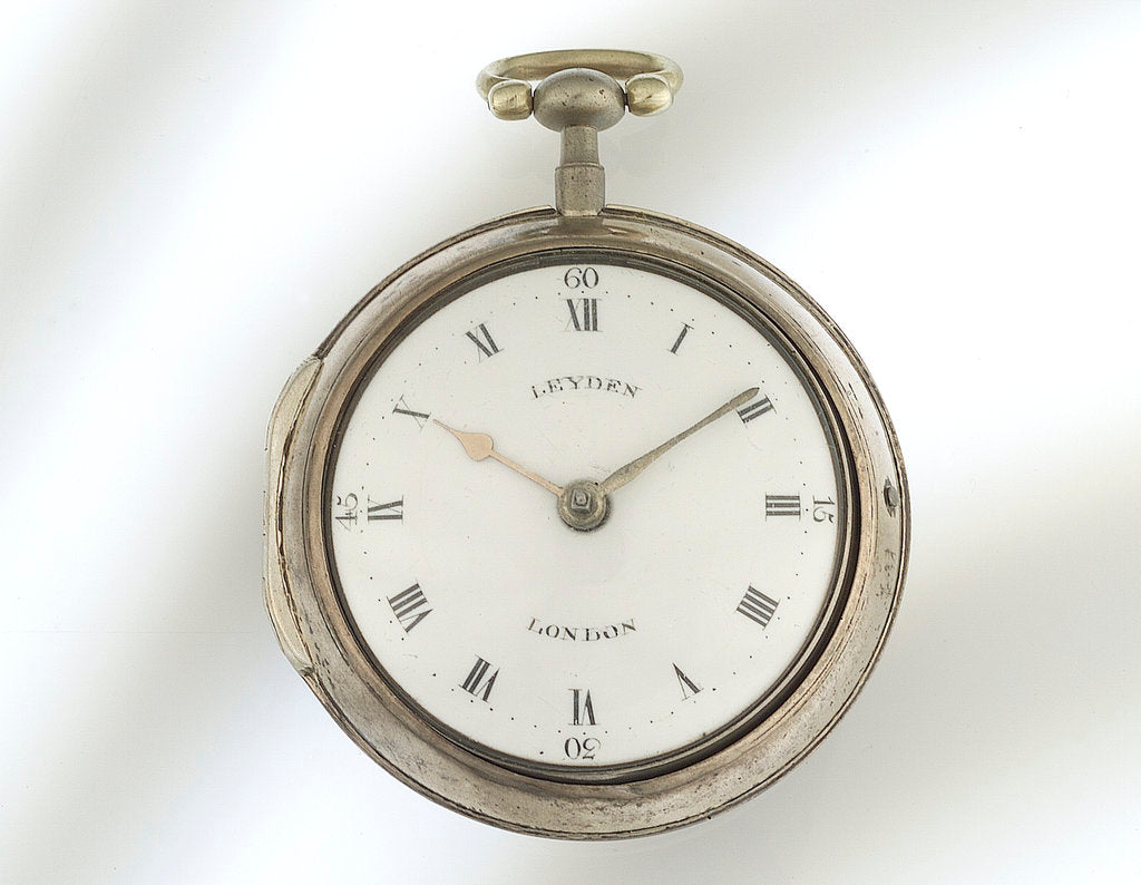 Detail of Watch in silver pair case by Thomas Leyden