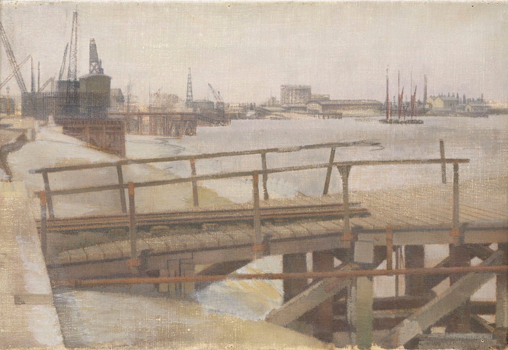 Detail of Study for A Jetty at Greenwich by Jesse Dale Cast