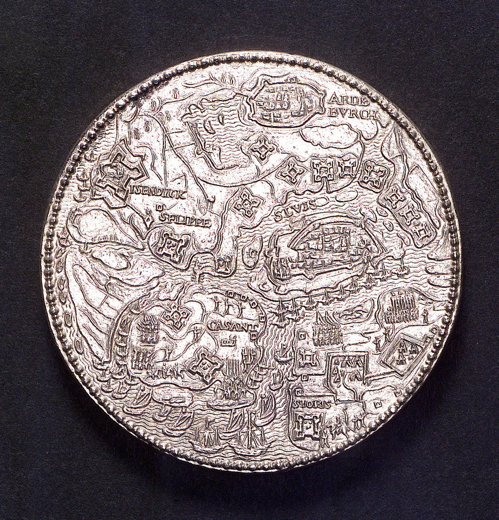 Detail of Medal commemorating the defence of Sluys and Ostend, 1603; obverse by unknown