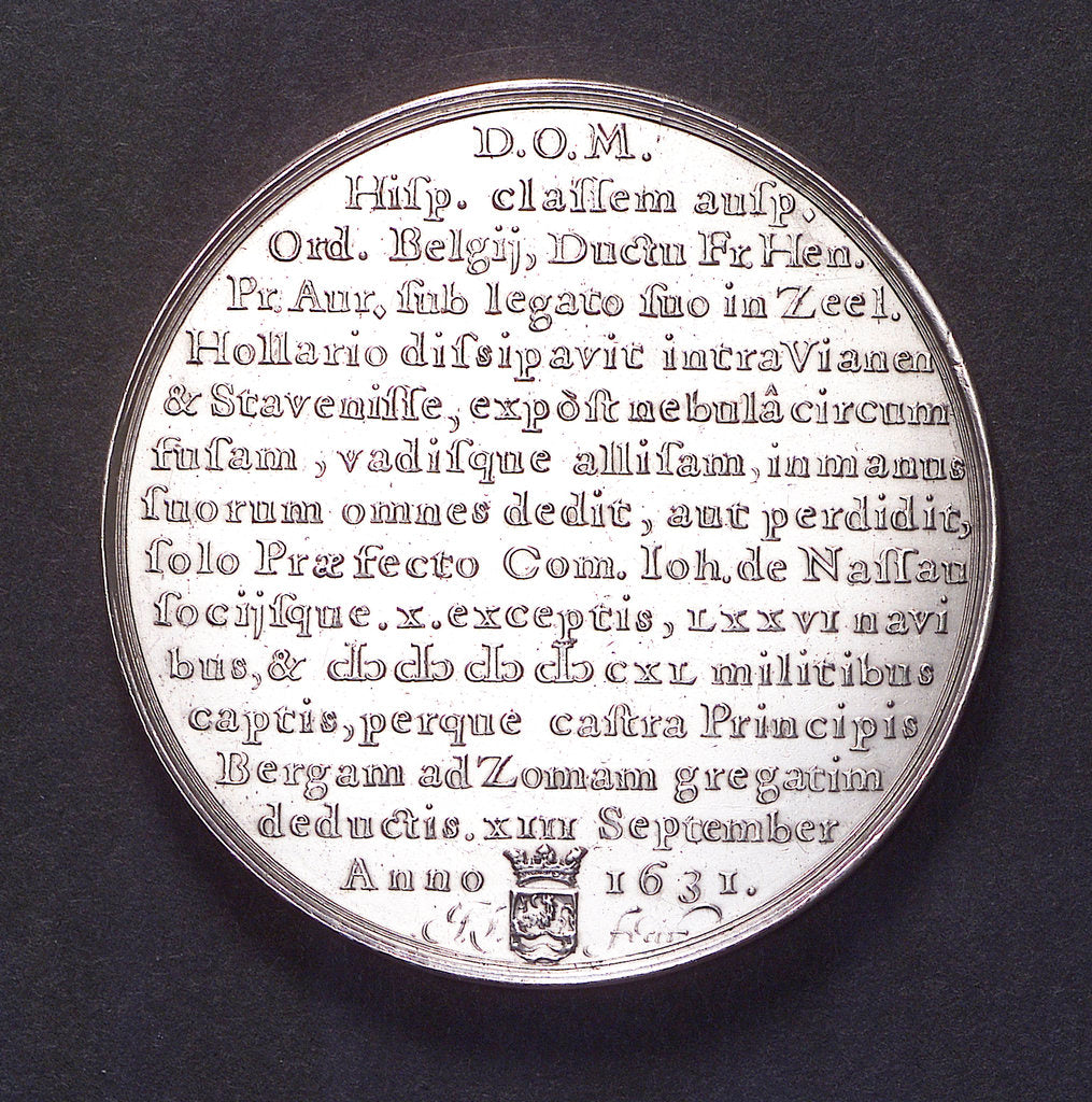 Detail of Medal commemorating the Spanish fleet captured at the Slaak, 1631; reverse by J. Looff