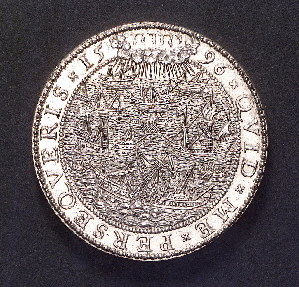 Detail of Medal commemorating the Allied expedition to Cadiz, 1596; reverse by unknown