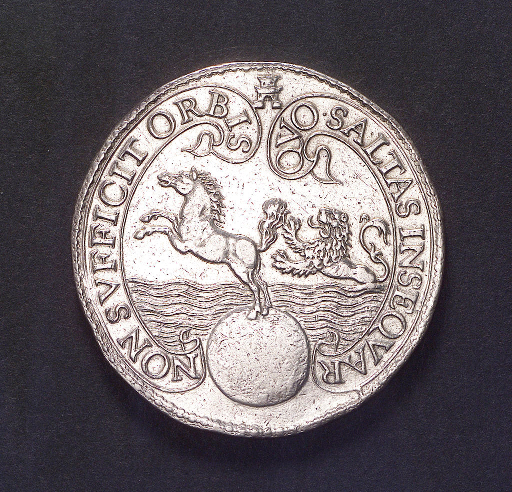 Detail of Medal commemorating the capture of the Spanish galleon 'St Jacob' off St Helena; obverse by unknown