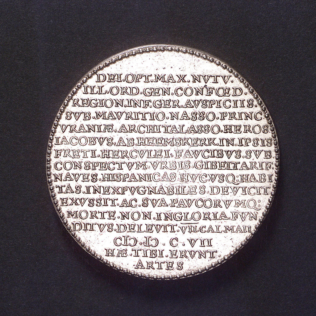 Detail of Medal commemorating Admiral Heemskerk's victory at Gibraltar, 1607; reverse by unknown