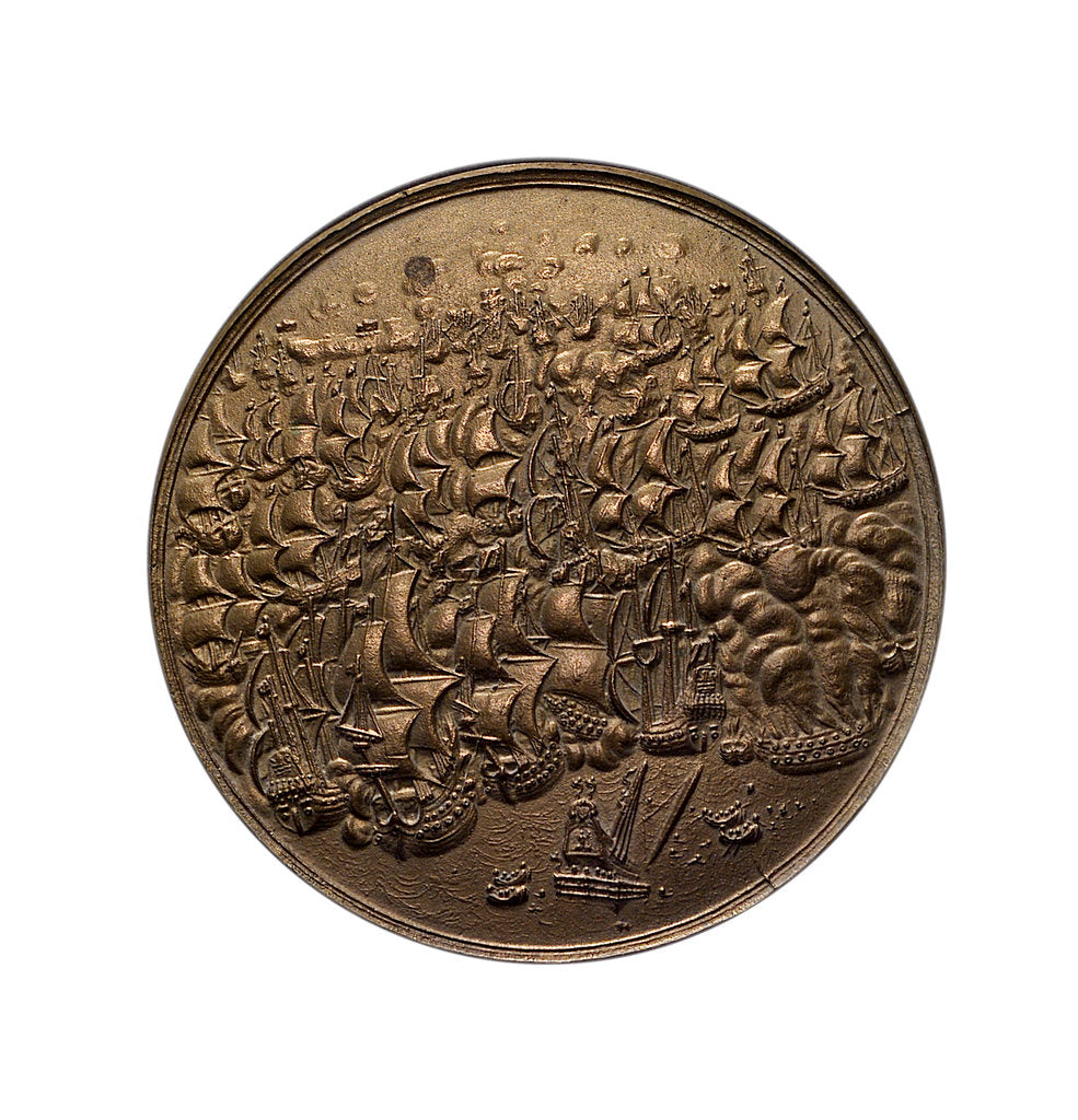 Detail of Medal commemorating the destruction of the Spanish fleet off Dover, 1639; obverse by unknown