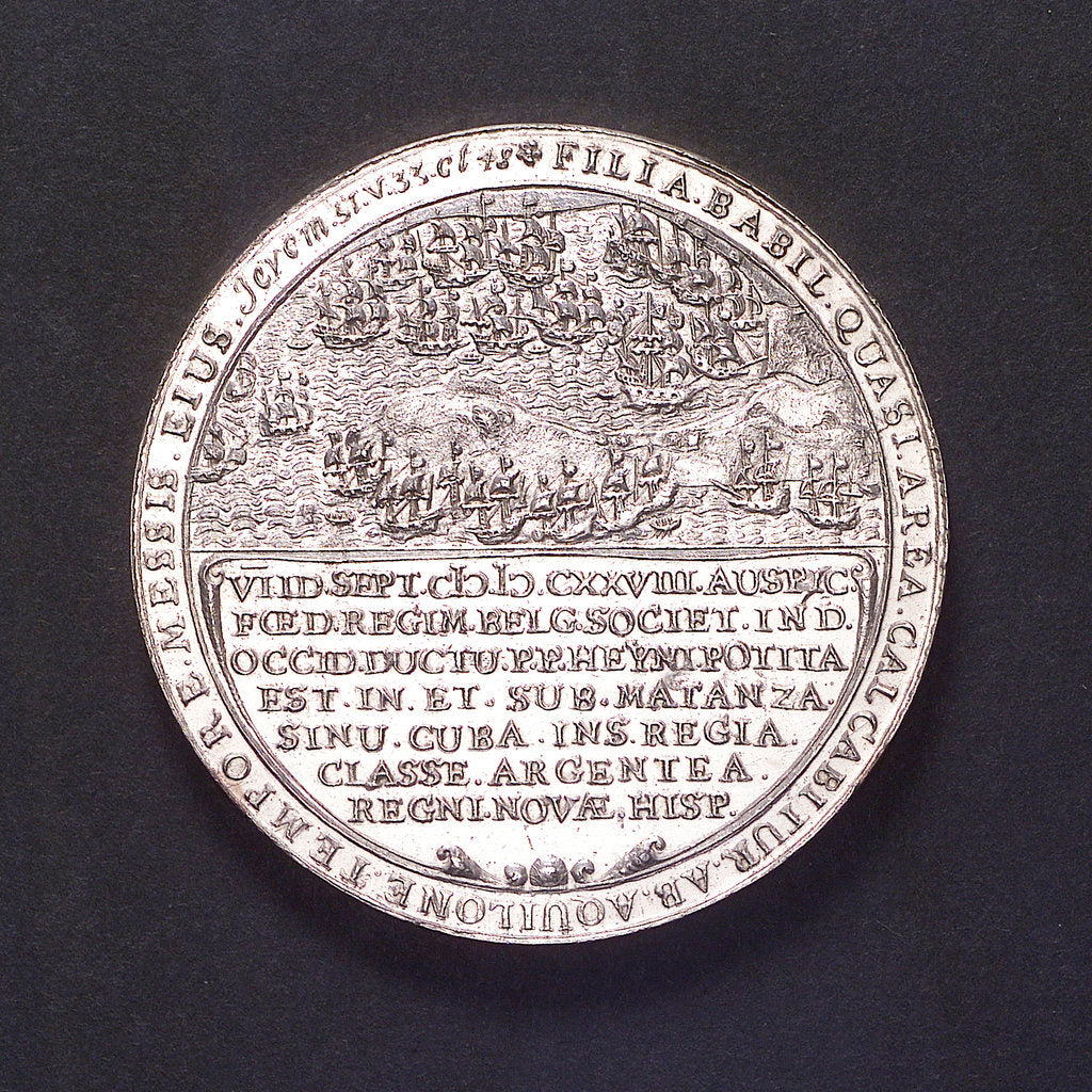 Detail of Medal commemorating Admiral Heyn and the capture of the Spanish silver fleet off Matanzas, 1628; reverse by unknown