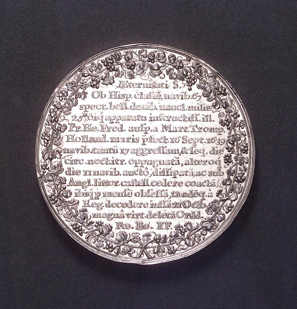 Detail of Medal commemorating the destruction of the Spanish fleet off Dover, 1639; reverse by J. Looff