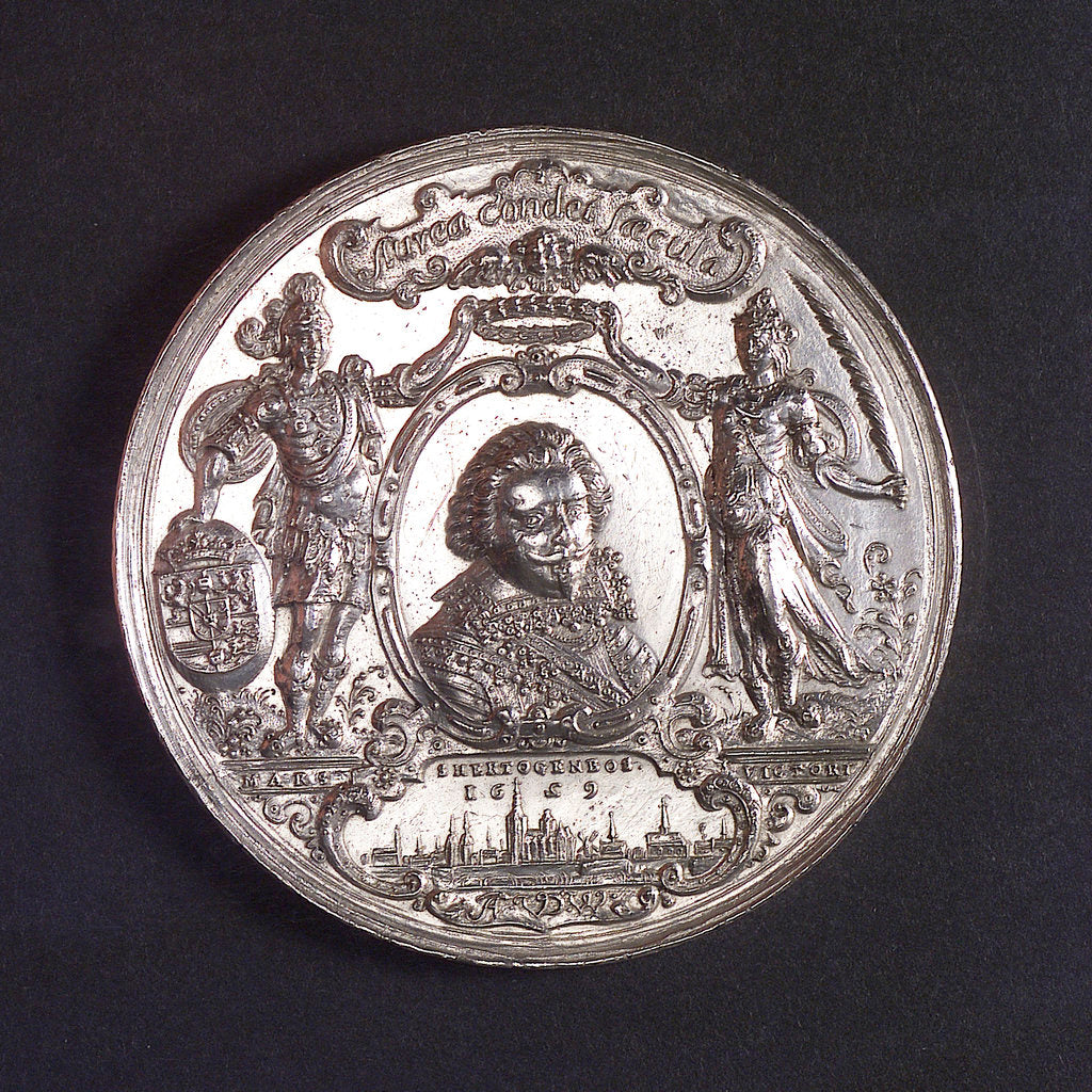 Detail of Medal commemorating the capture of the Spanish silver fleet off Matanzas, 1628; obverse by A. van der Wilge