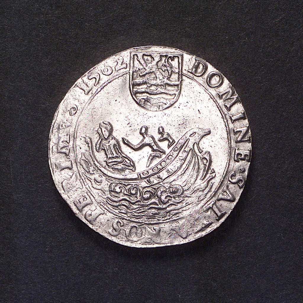 Detail of Counter commemorating Dutch peril, 1562; obverse by unknown