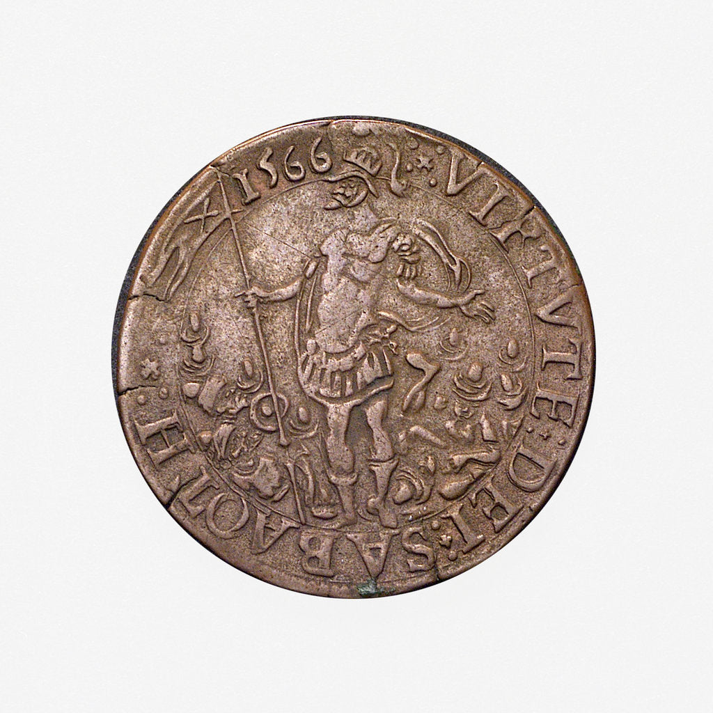 Detail of Counter commemorating Malta delivered from the Turks, 1565; obverse by unknown
