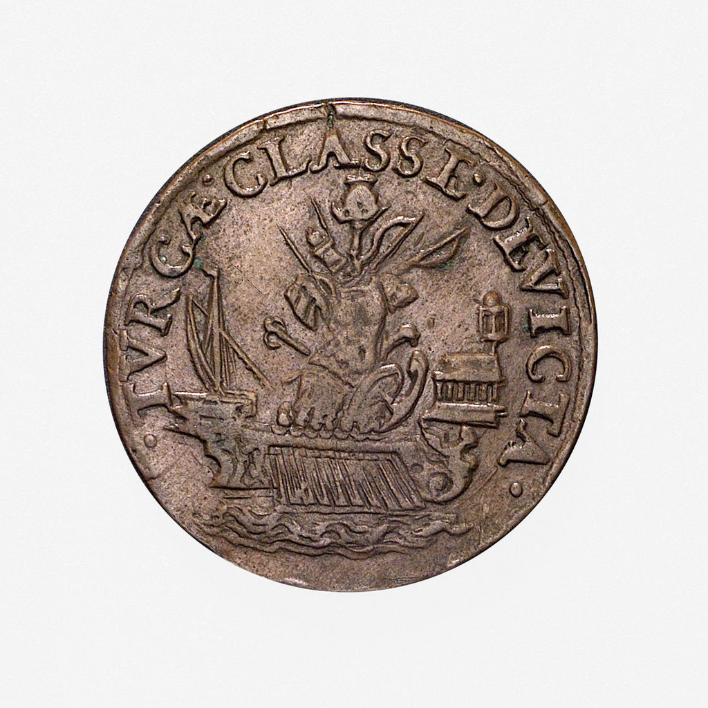 Detail of Counter commemorating the Battle of Lepanto, 1571; reverse by unknown