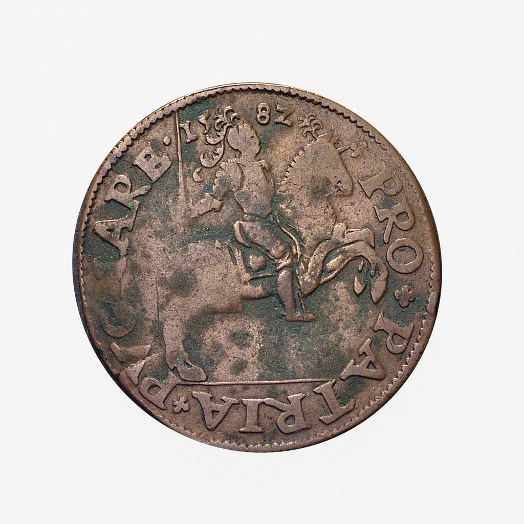 Detail of Counter commemorating preparations for war in 1582; obverse by unknown