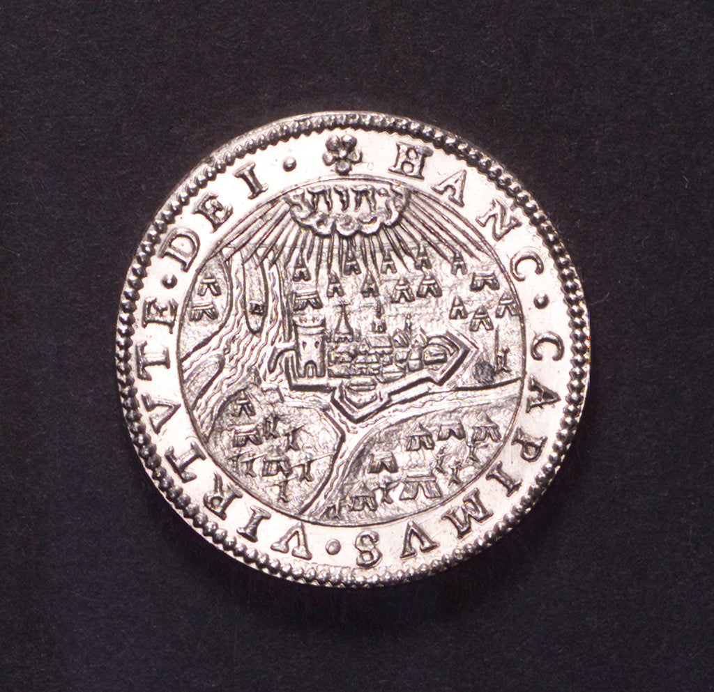 Detail of Counter commemorating the Battle of Rhinberck and the siege of Ostend, 1601; reverse by unknown
