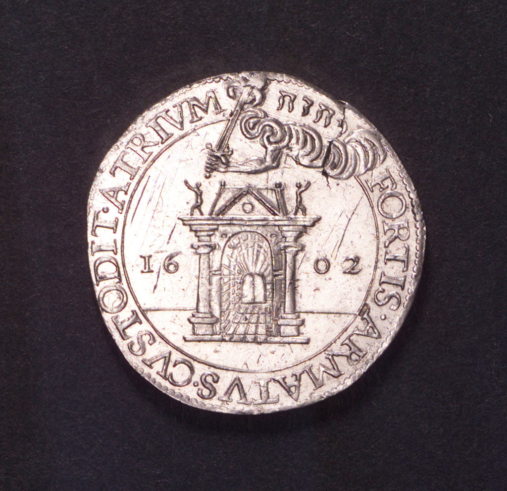 Detail of Counter commemorating the defence of Ostend, 1601; obverse by unknown