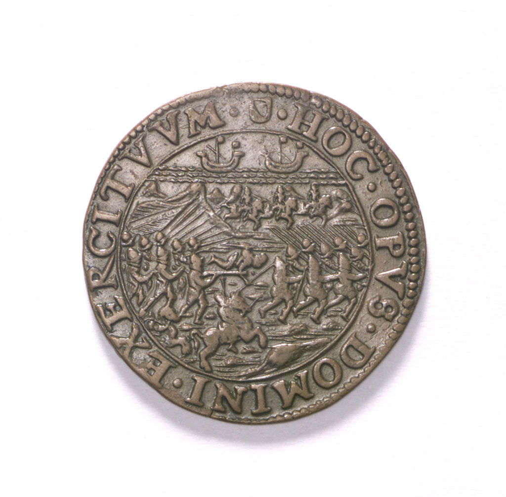 Detail of Counter commemorating the Battle of Nieuport, 1600; obverse by unknown