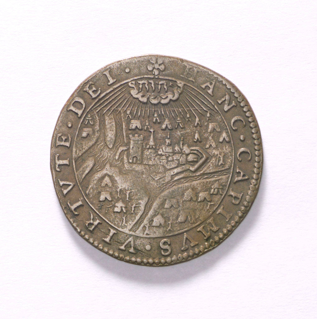 Detail of Counter commemorating the Battle of Rhinberck and the siege of Ostend, 1601; obverse by unknown