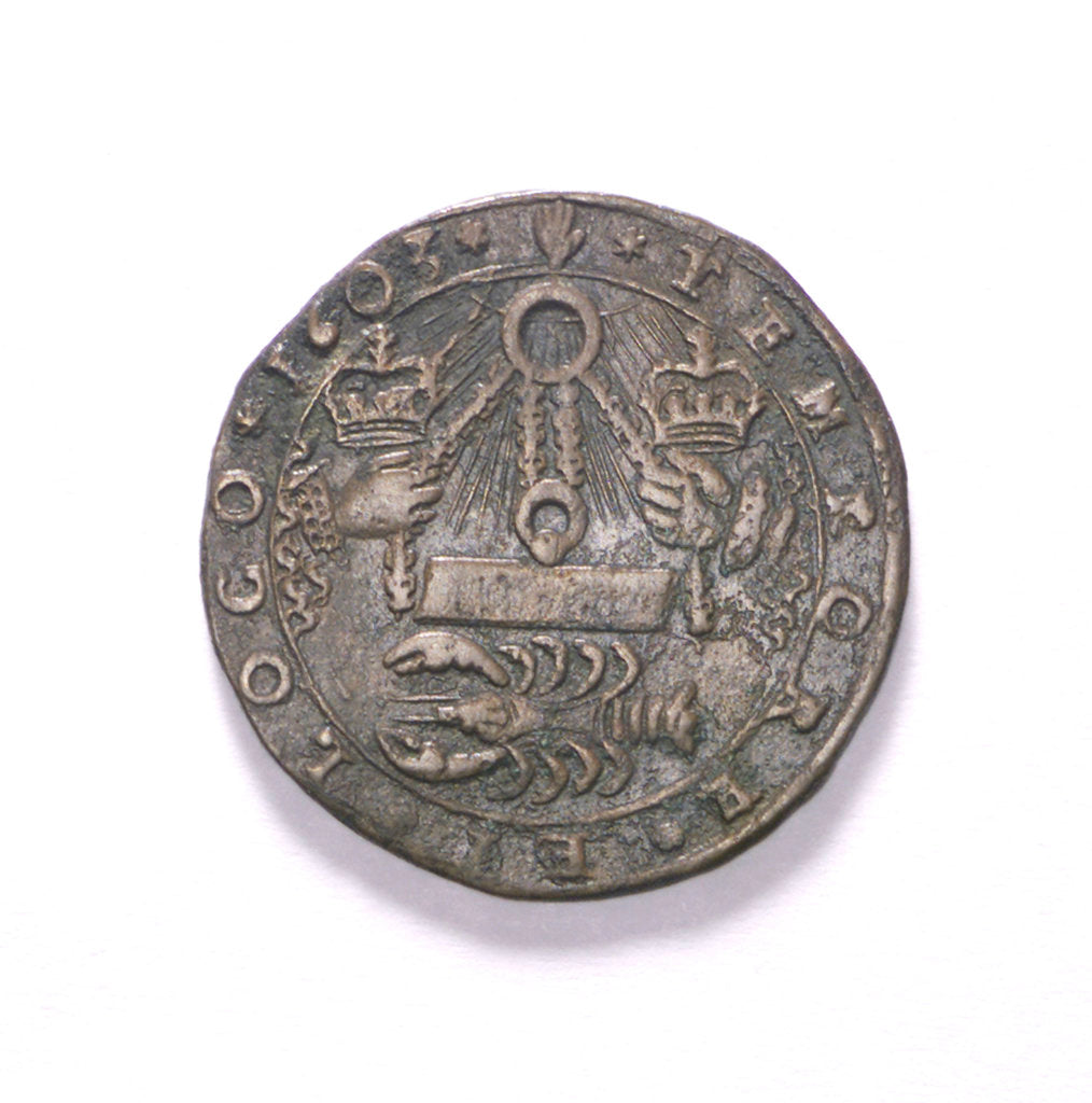Detail of Counter commemorating the siege of Ostend, 1603; reverse by unknown