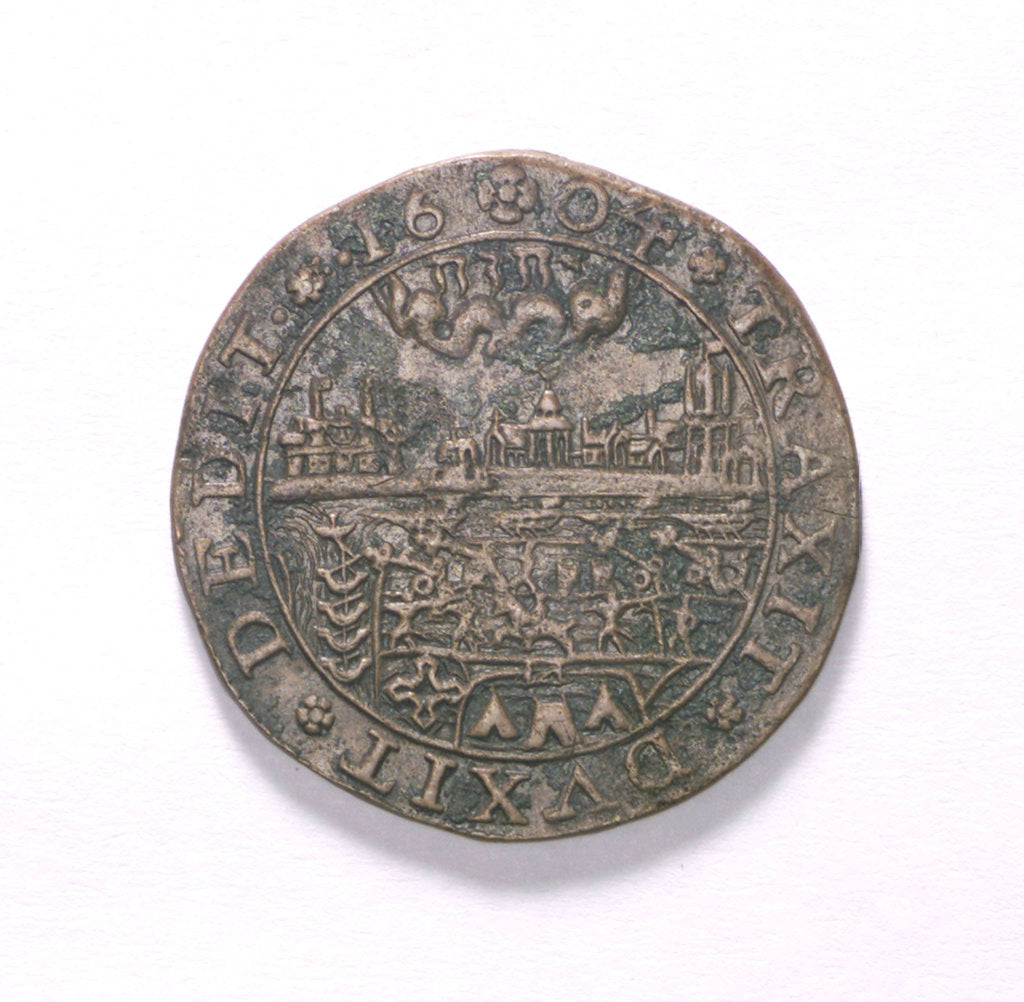 Detail of Counter commemorating the Spanish defeat off Sluys, 1603; obverse by unknown