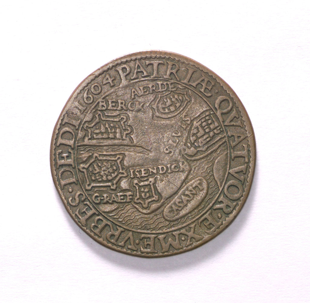 Detail of Counter commemorating the siege of Ostend, 1604 and the capture of other cities; reverse by unknown
