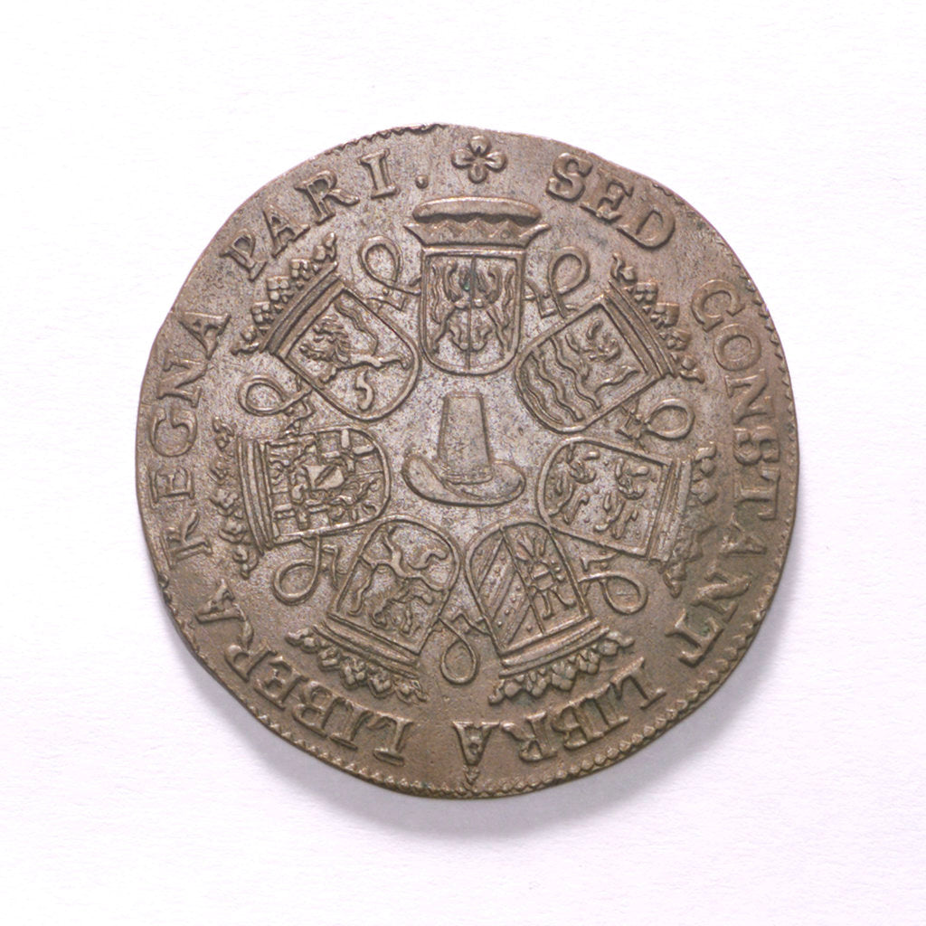 Detail of Counter commemorating the disarmament of the fleet, 1671; reverse by unknown