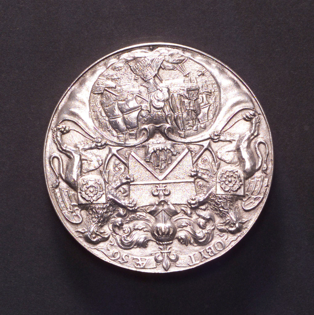 Detail of Medal commemorating the Battle of the Texel and the death of Admiral Tromp, 1653; reverse by P. van Abeele