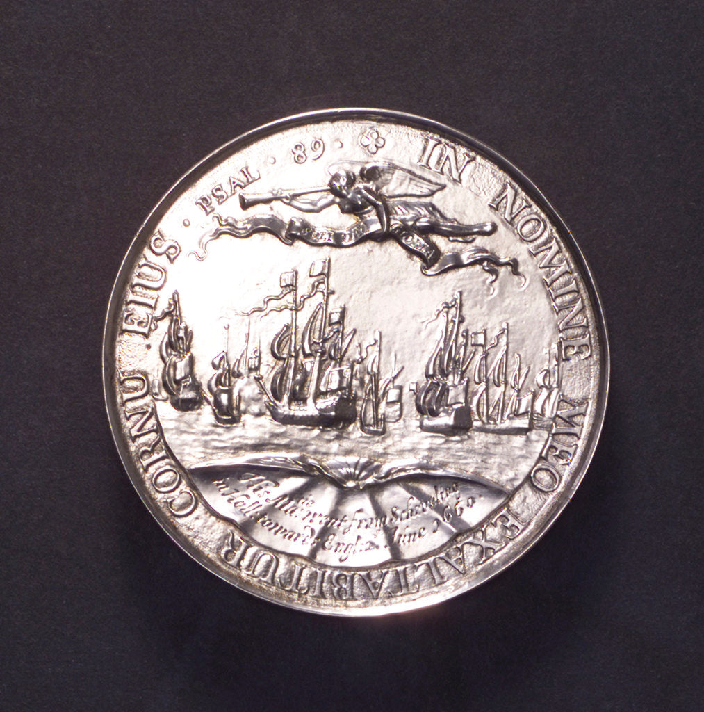 Detail of Medal commemorating the embarkation at Scheveningen of King Charles II, 1660; reverse by P. van Abeele