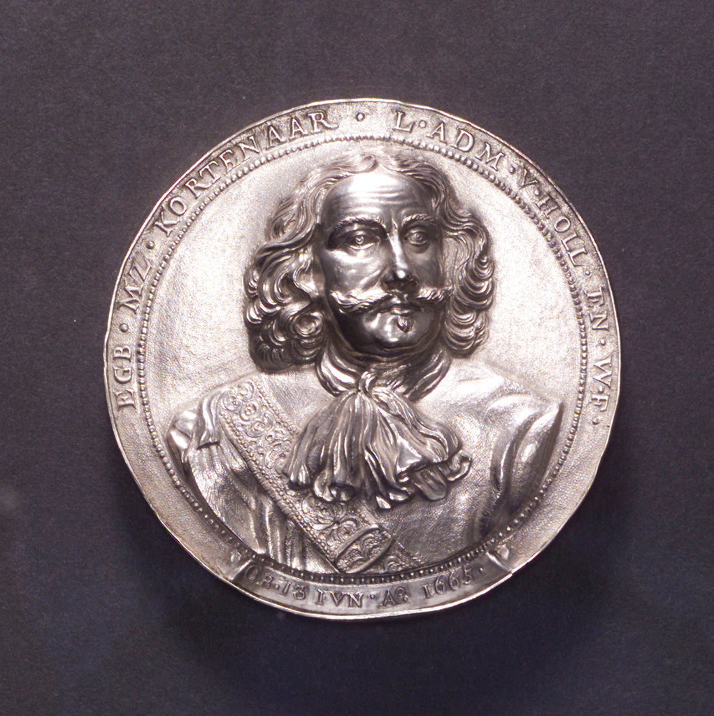 Detail of Medal commemorating the Battle of Lowestoft and the death of Admiral Kortenaar, 1665; obverse by O.M.
