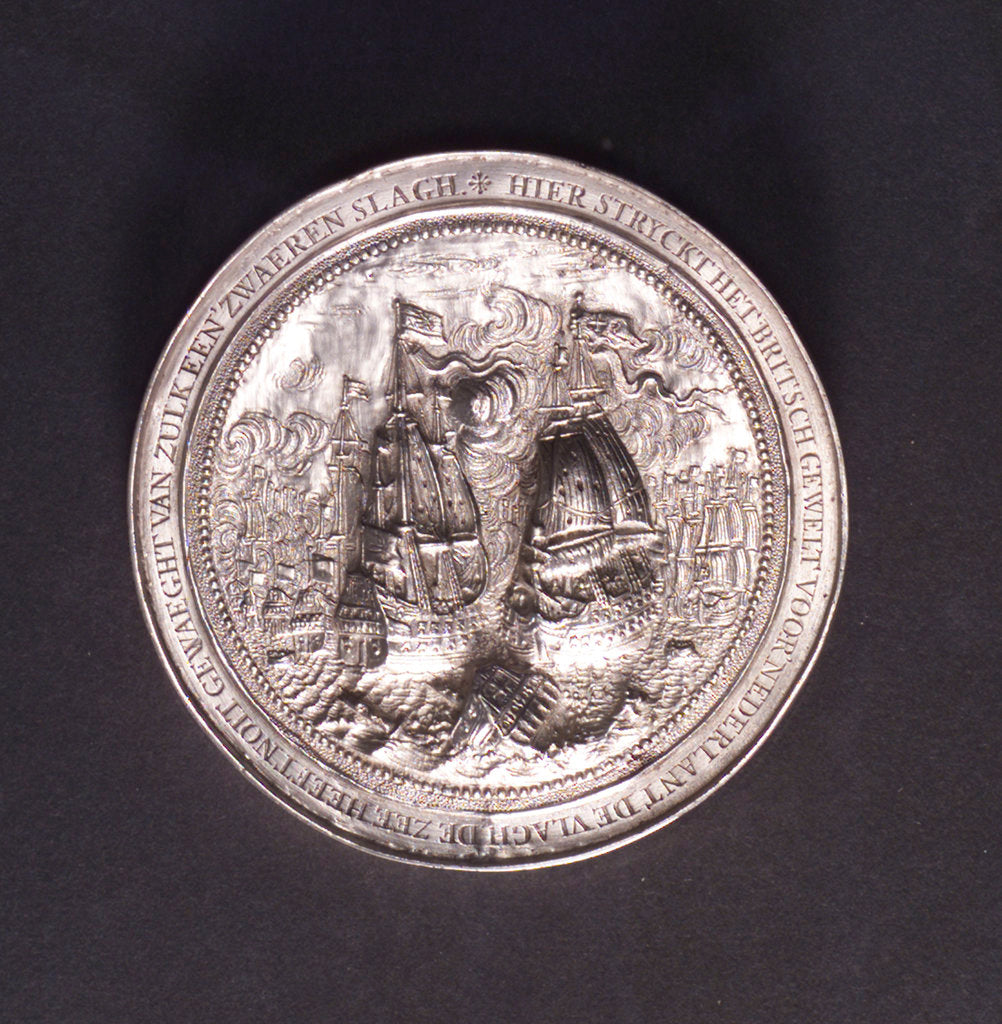 Detail of Medal commemorating the Battle of the Four Days and Admiral de Ruyter, 1666; reverse by O.M.