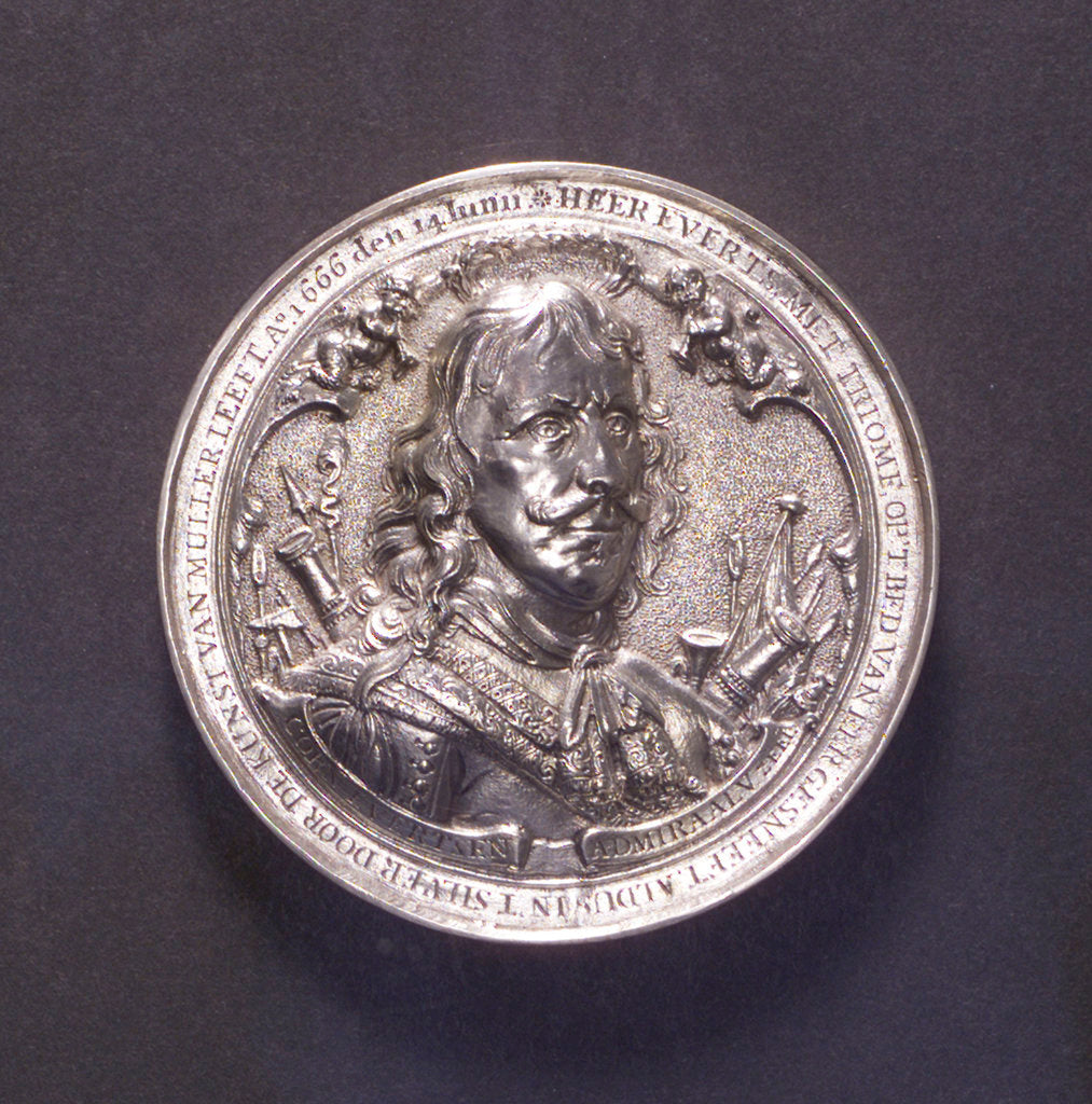 Detail of Medal commemorating the Battle of the Four Days and Admiral Evertsen, 1666; obverse by O.M.