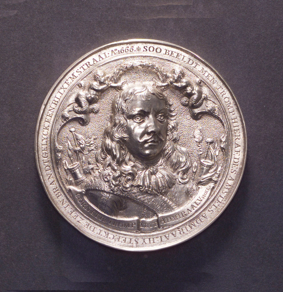 Detail of Medal commemorating the Battle of the Four Days and Admiral Van Tromp, 1666; obverse by O.M.