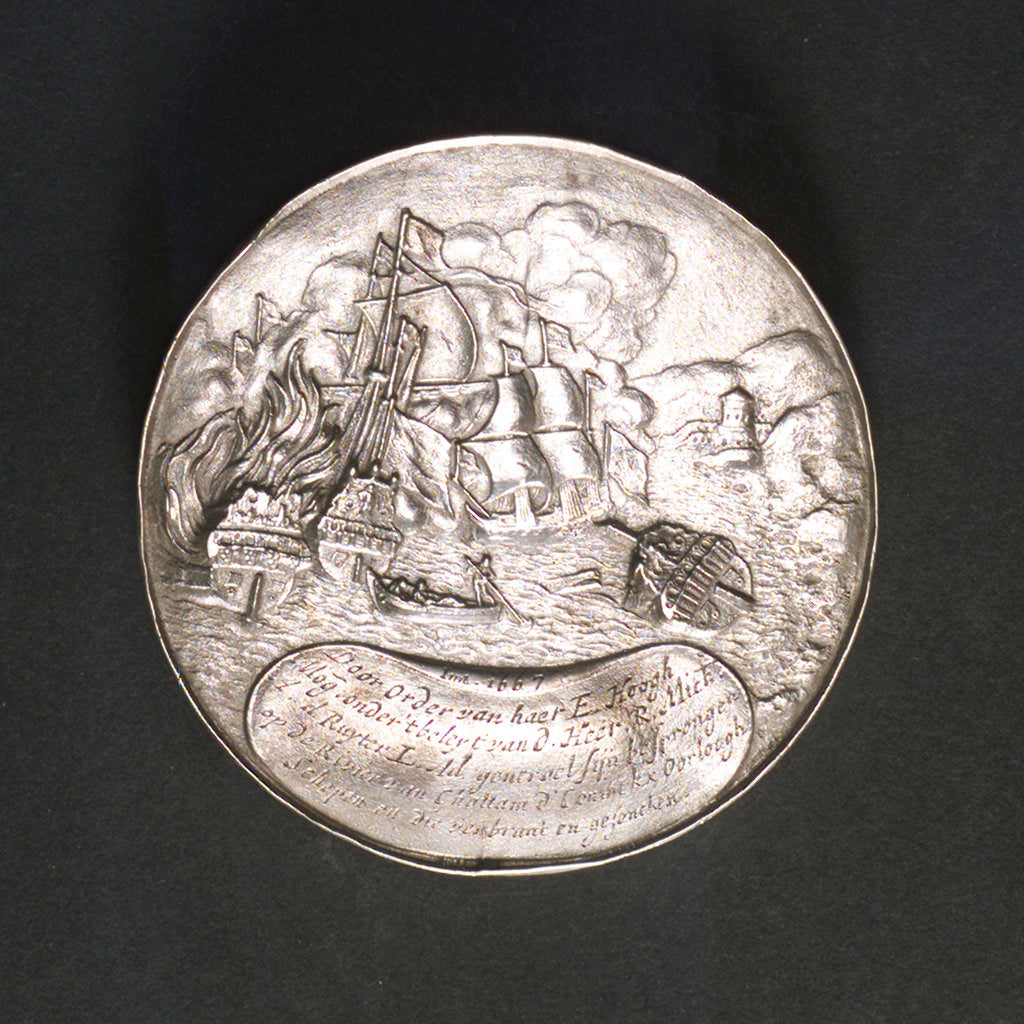 Detail of Medal commemorating the ships burnt in the Medway and Admiral de Ruyter, 1667; reverse by P. van Abeele