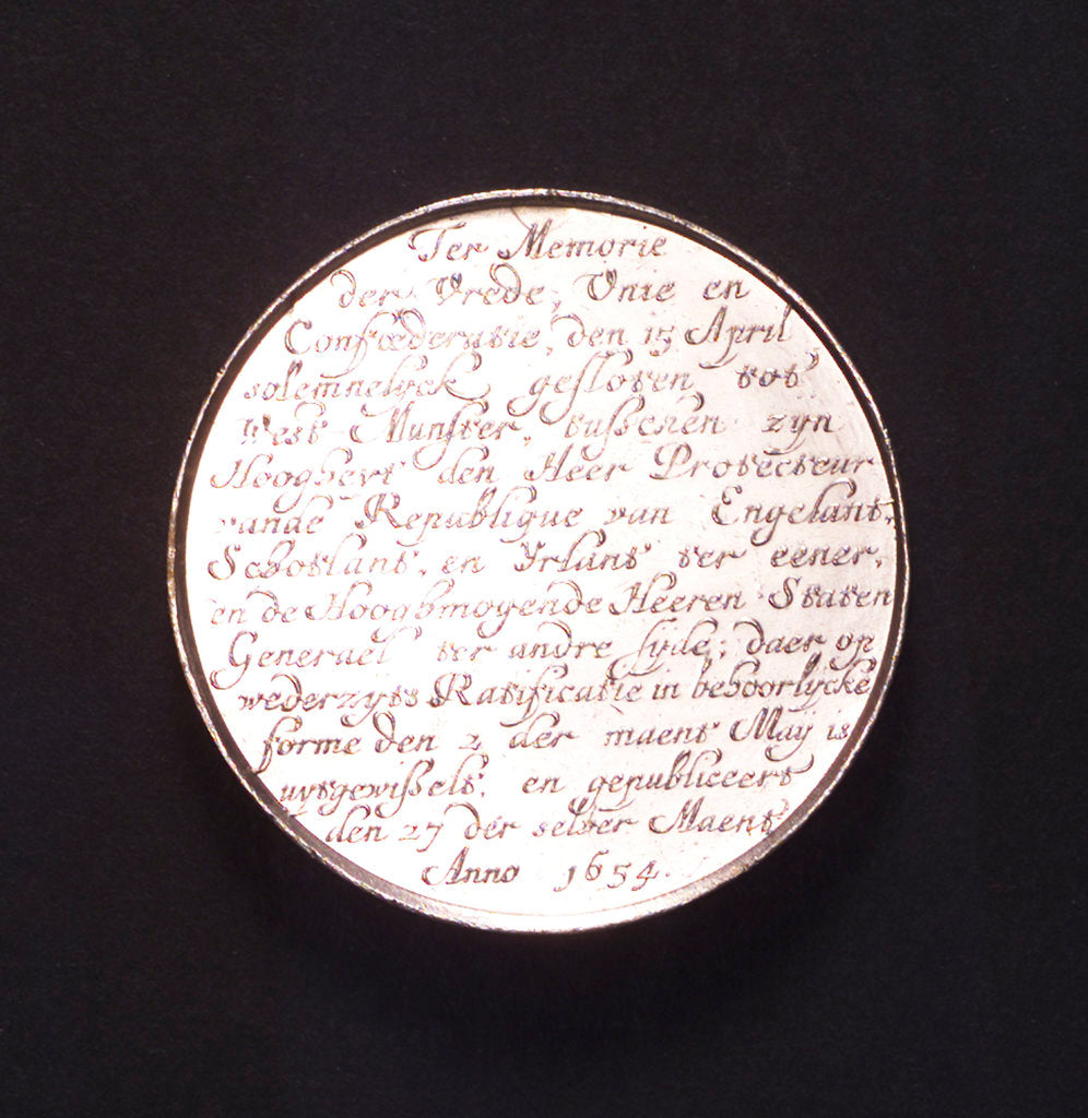 Detail of Medal commemorating the Peace of Westminster, 1654; reverse by J. Pool