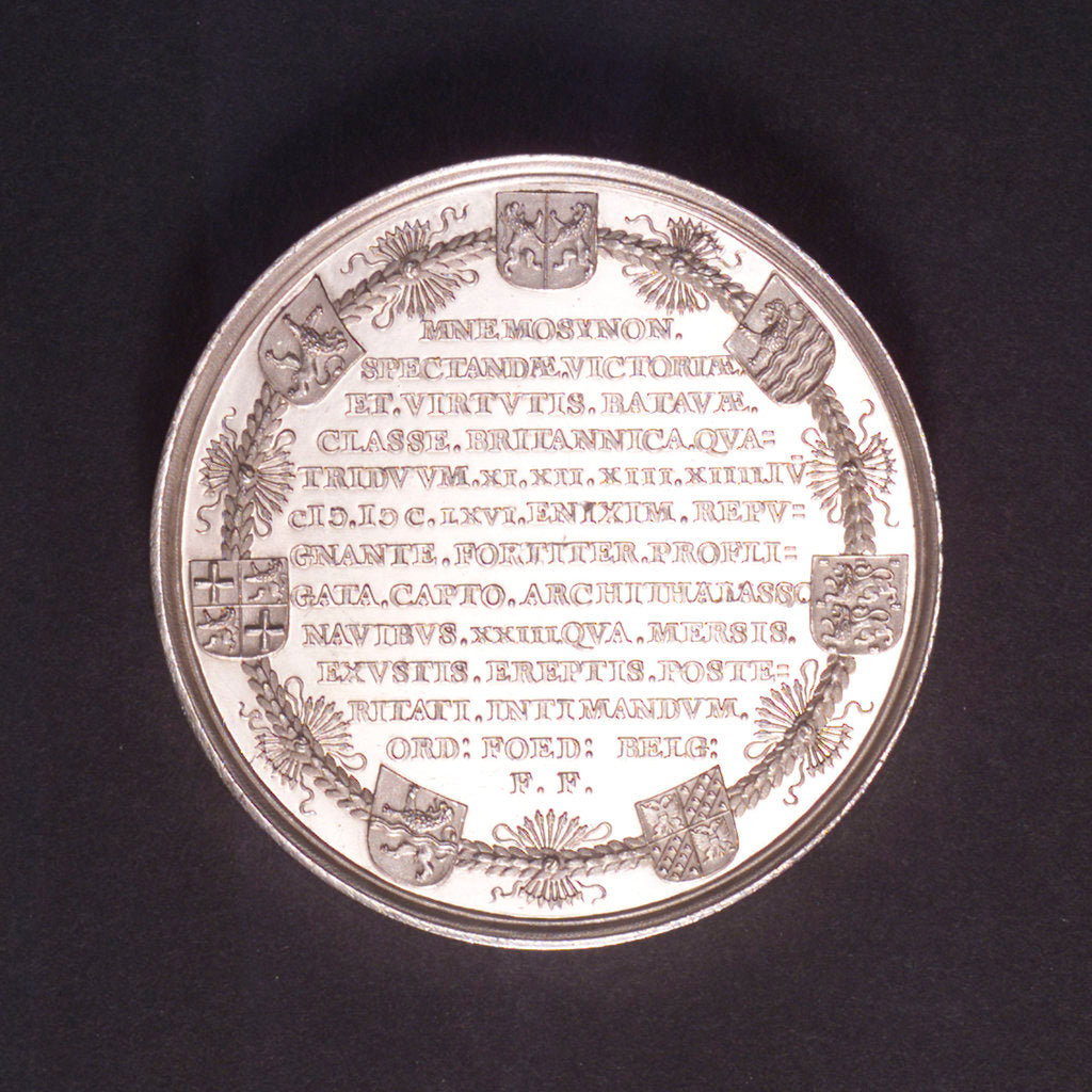Detail of Medal commemorating the Battle of the Four Days, 1666; reverse by C. Adolfszoon