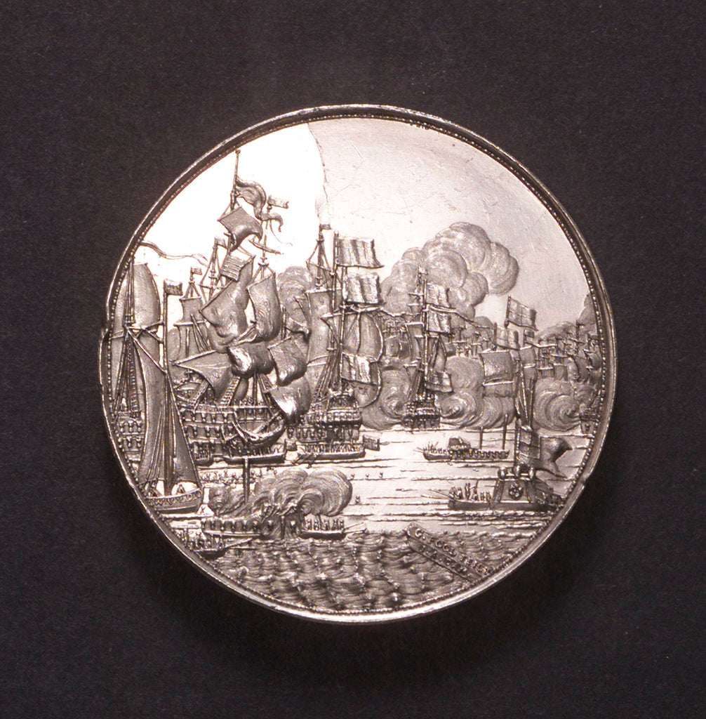 Detail of Medal commemorating the Battle of the Four Days, 1666; obverse by J. Pool