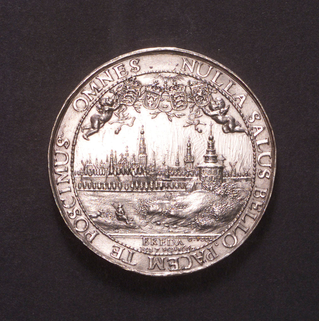 Detail of Medal commemorating the proclamation of the Peace of Breda, 1667; reverse by J. Pool