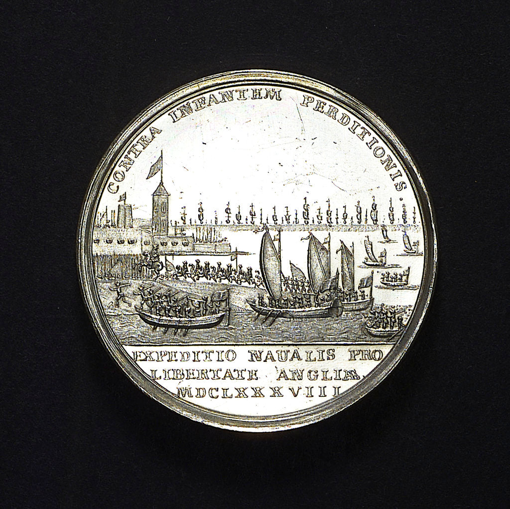 Detail of Medal commemorating the landing of William of Orange at Torbay, 1688; reverse by R. Arondeaux